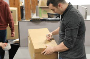 Writing name on personal boxes