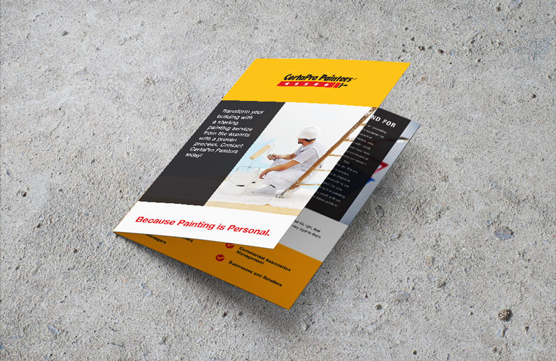 Mockup of a commercial painting brochure on concrete background